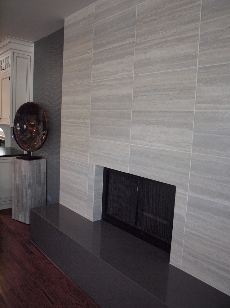 contemporary tile fireplace