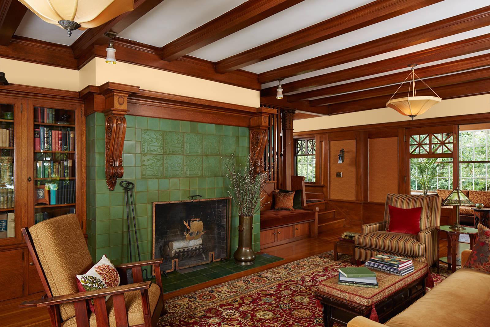 green tile fireplace houzz