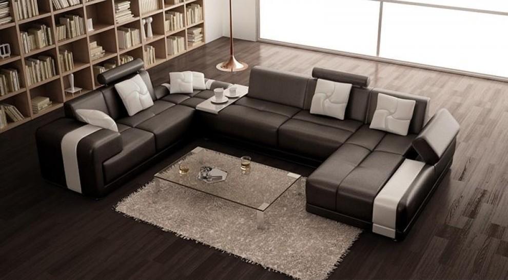 modern bonded leather u shape sectional