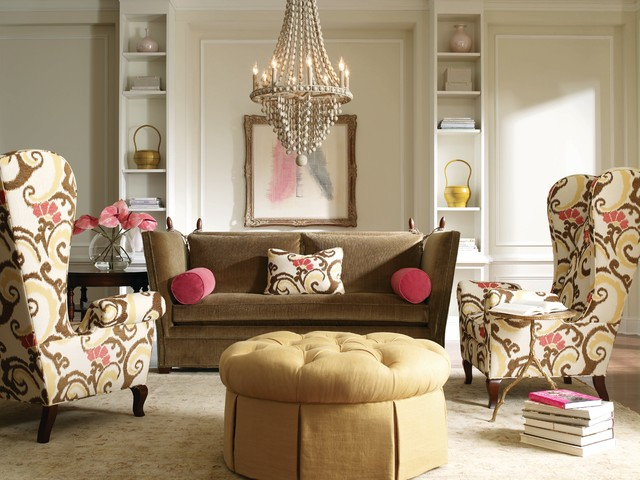 pink and brown eclectic living room