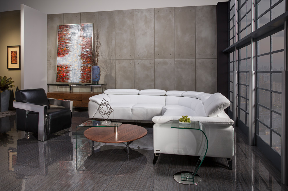 Tesla White Leather Sofa Modern Living Room Miami By El Dorado Furniture Houzz