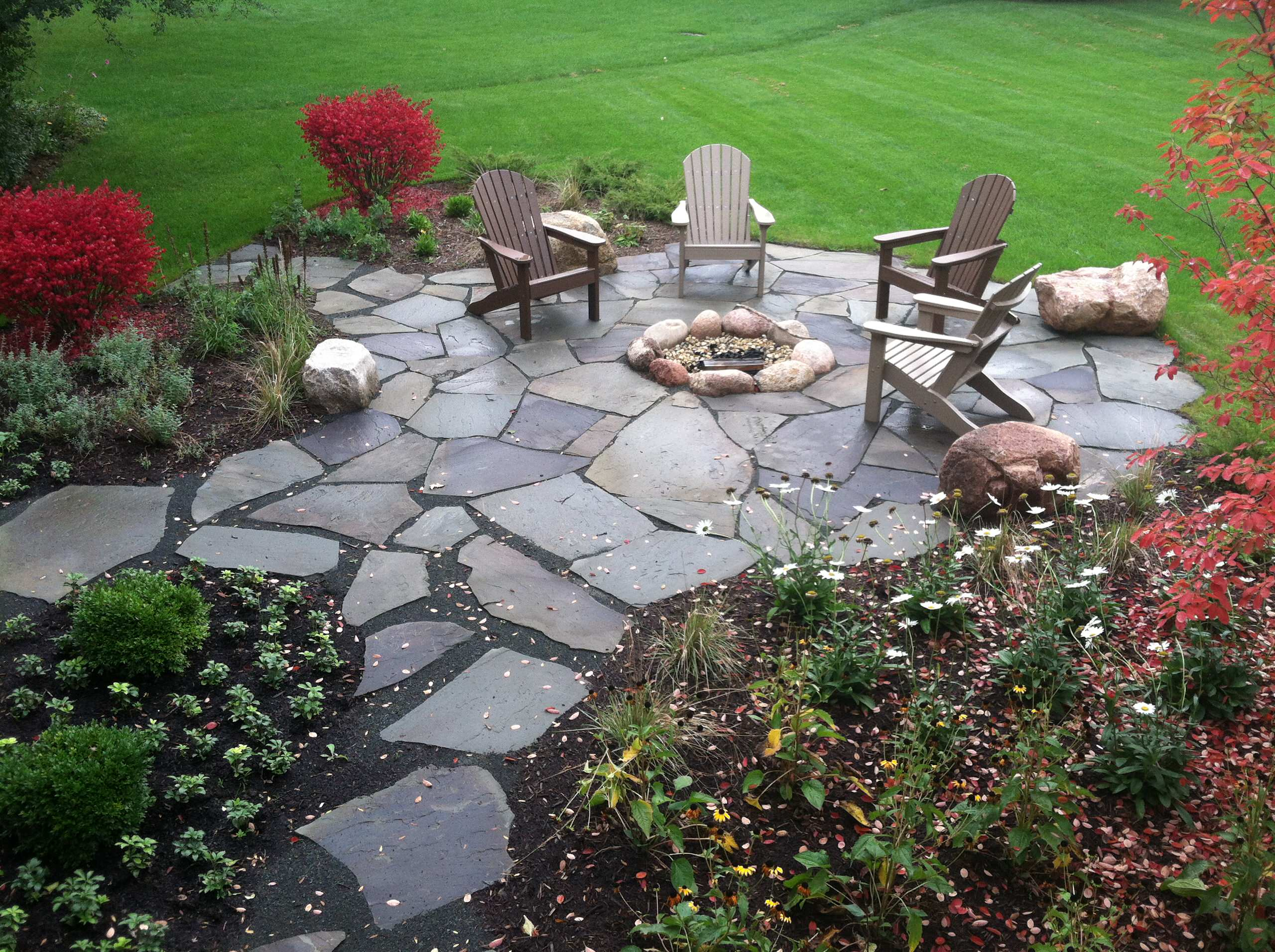 flagstone patio and fire pit houzz