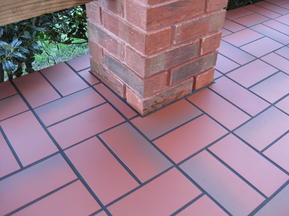 basketweave with quarry tile over