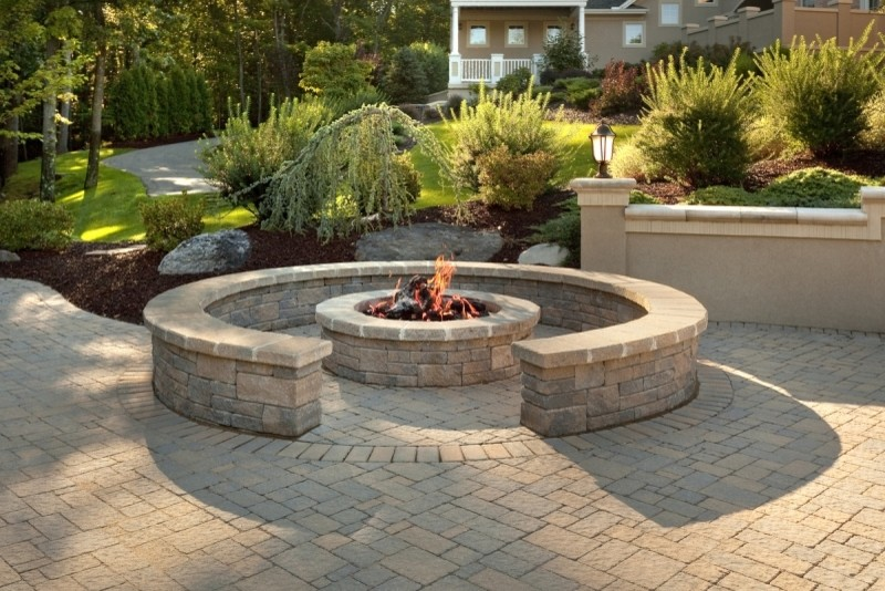 brick patios with fire pits houzz