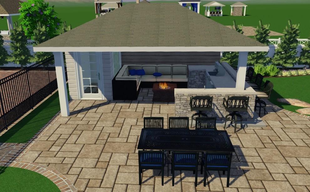 dix hills outdoor kitchen with pavilion