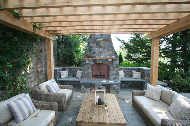 fireplace patio pergola klassisch