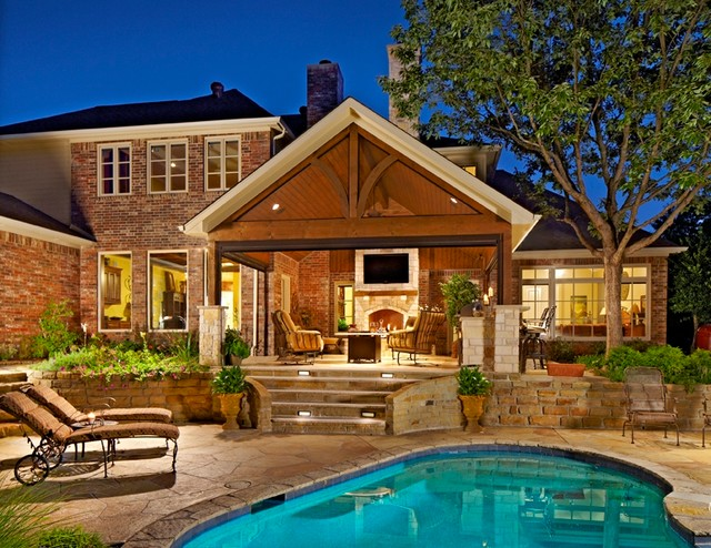 Outdoor Living Area with Pool - Traditional - Patio ... on Ab And Outdoor Living  id=88742