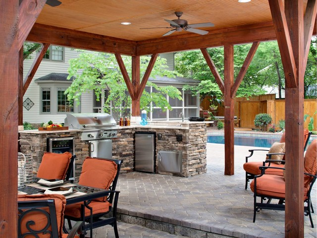outdoor living space stone patio
