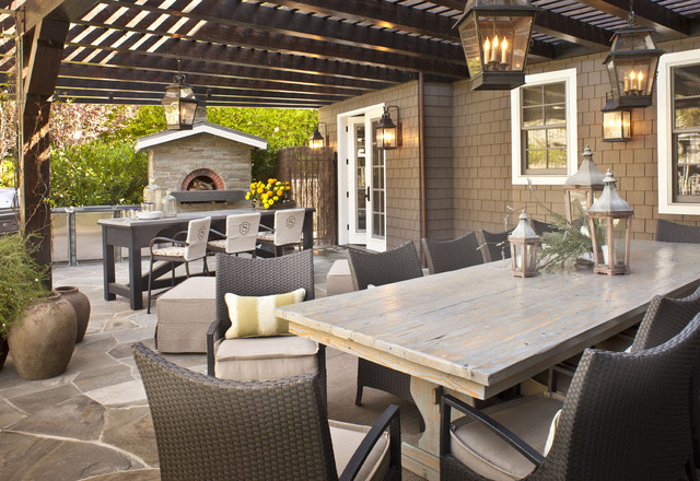 hanging lanterns cast porches in the