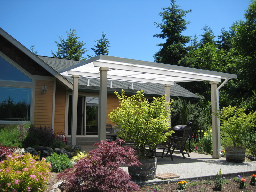 patio cover shed style over concrete