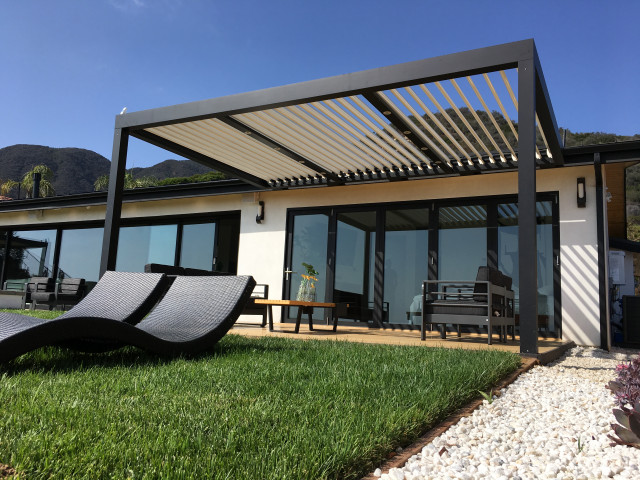 patio louvered roof with ocean view