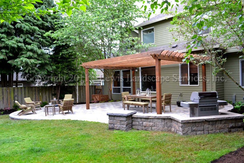 Paver Patio, Pergola, Fire Pit, Seat Wall, Lighting ... on Paver Patio Designs With Fire Pit id=89419