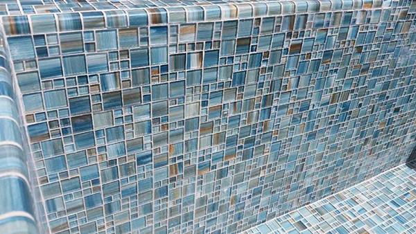 90 degree glass trim tile pool
