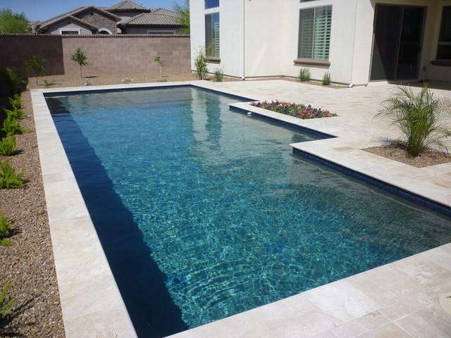 classic pool with blue water line tile