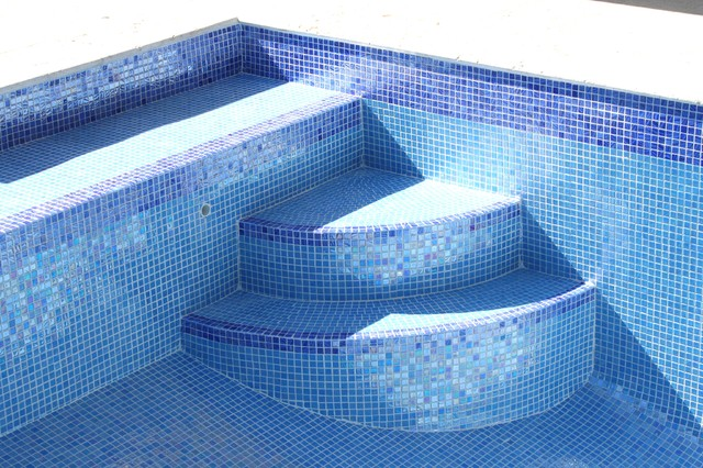 iridescent blue glass tile