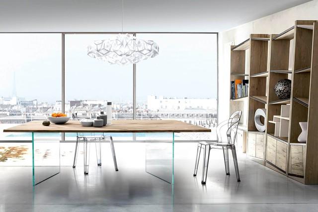 table plateau bois massif pieds verre