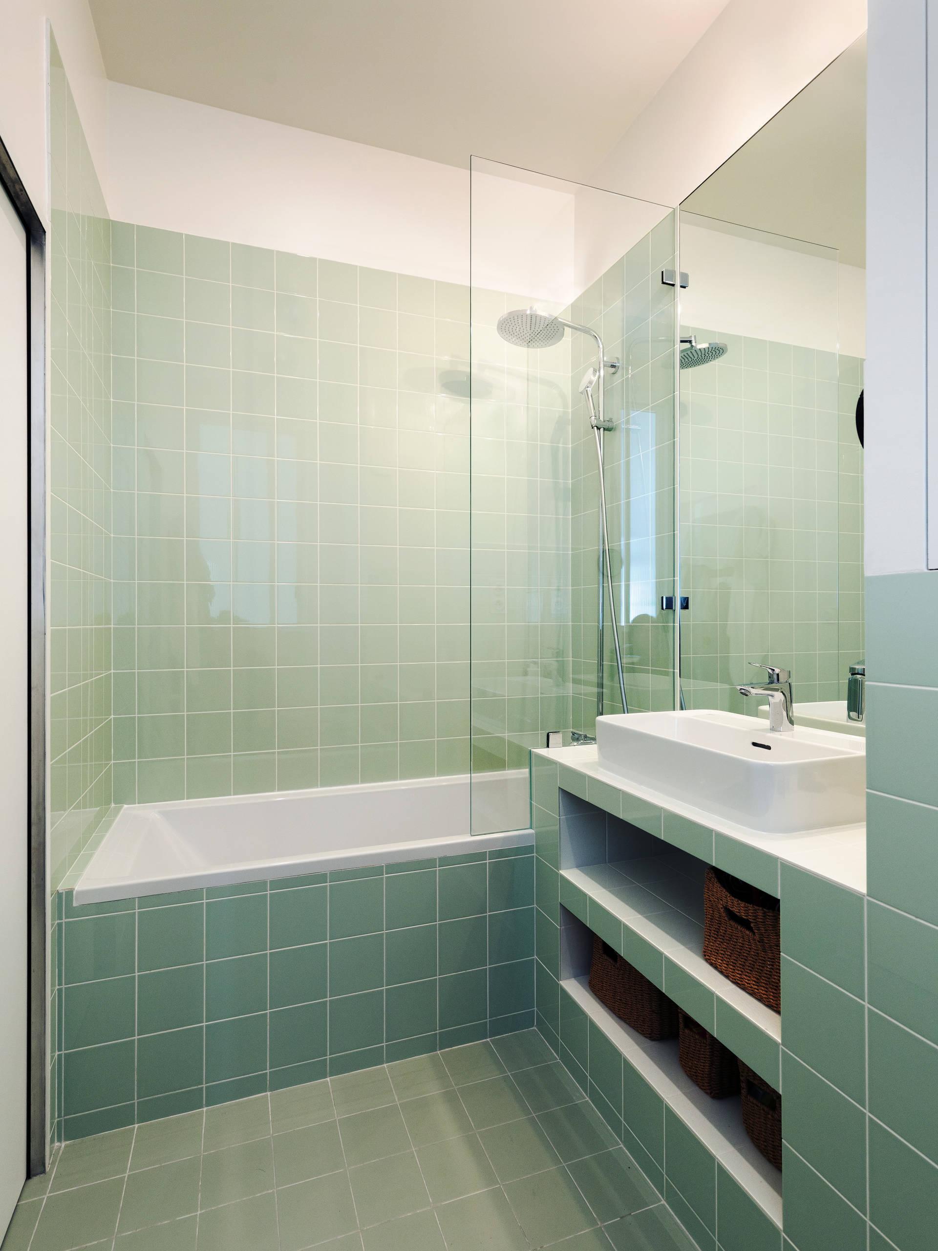 green tile and porcelain tile bathroom