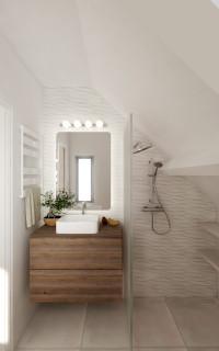 salle de bain avec un carrelage gris