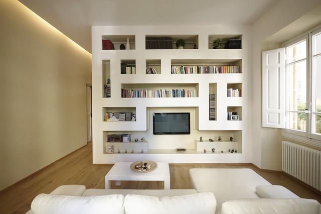 Nicchia con postazione pc a scomparsa; Moderno Minimale 100 Mq Modern Living Room Milan By Jfd Juri Favilli Design Houzz