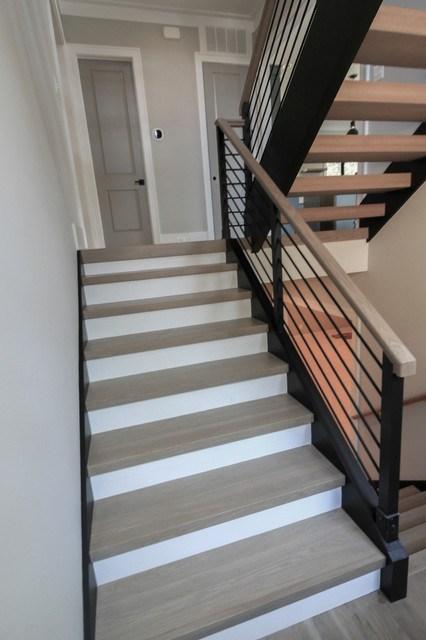 52 Minimalist Floating Open Riser White Oak Stairway Arlington | Oak Stairs With White Risers | Natural | Red Oak | Character | Hardwood | Dark Walnut Staircase