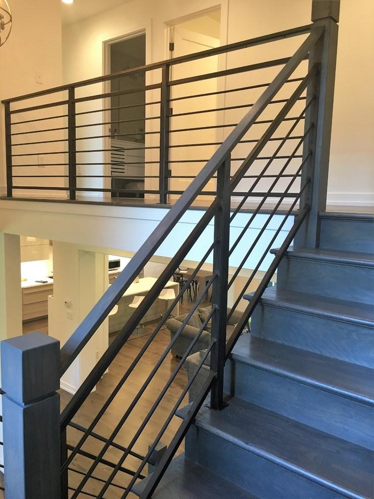 Amanda Horizontal Steel Railing With Wooden Newel Posts | Exterior Wood Newel Posts | Deck | Cap | Box Newel | Handrail | Porch
