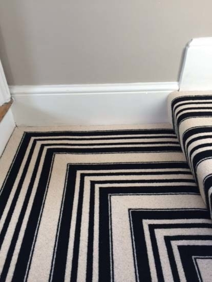 Black White Stripe Carpet To Stairs And Landings Contemporary | Black And White Stair Carpet | Entry Hall | Square Pattern | Luxurious | American Style | Small Space