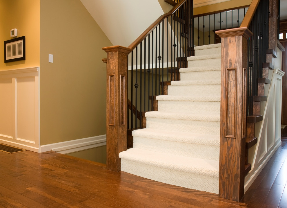 Carpeted Stair Case With Hardwood Landing Contemporary | Carpet Stairs Wooden Floor Landing | Oak | Red Striped | Center House | Wall To Wall Carpet | Bedroom