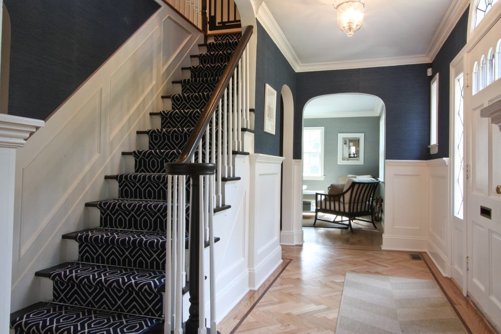Classic Coastal Colonial Foyer Traditional Staircase Newark | Navy Carpet On Stairs | Wooden | Loop Pile | Wall To Wall Carpet | Dark Blue | Geometric