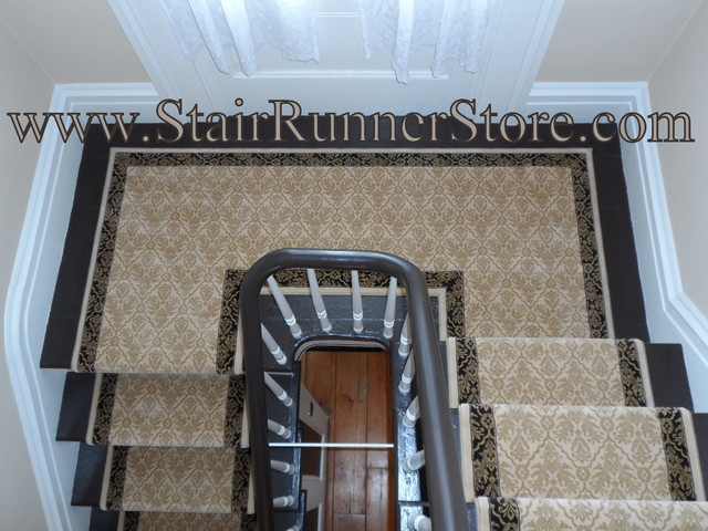 Double Landing Stair Runner Installations American Traditional   Carpet Runners For Stairs And Landing   Carpet Hampton Style   Hallway   Stair Runner Matching Landing   Fitted   Farmhouse