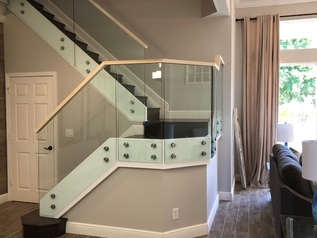 Glass Railings With Standoffs And Wood Handrail Modern | Glass Railing With Wood Handrail | Modern | Interior | Panel | Metal | Residential