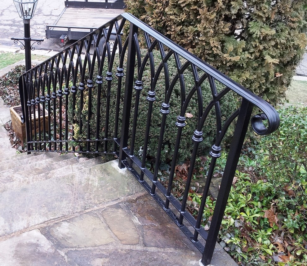 Gothic Arch Custom Forged Steel Railing Traditional Staircase | Heritage Stair And Railing | Stainless Steel | Balcony Railing Design | Indoor Stair | Interior Stair | London Ontario