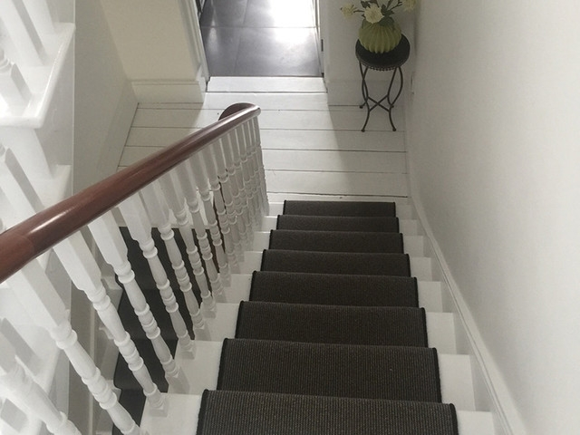 Grey Carpet To Stairs With Black Whipping Contemporary | Gray Carpet On Stairs | Contemporary | Geometric | Design | Grey Pattern | Farmhouse
