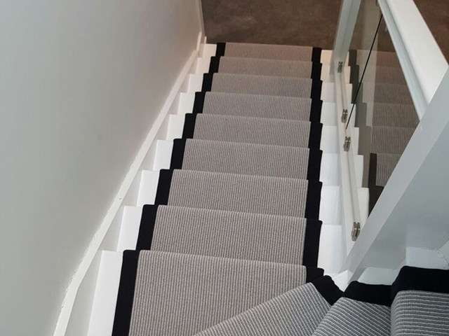 Grey Carpet With A Black Border To Stairs Transitional | Gray Carpet On Stairs | Contemporary | Geometric | Design | Grey Pattern | Farmhouse