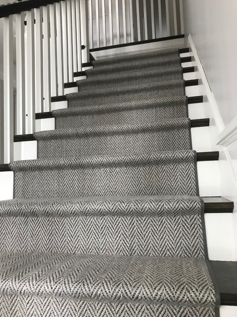 Grey Herringbone On Dark Stairs Hollywood Style Staircase | Dark Carpet On Stairs | Gray | Monochrome | Wall | Modern | Metal Bar On Stair