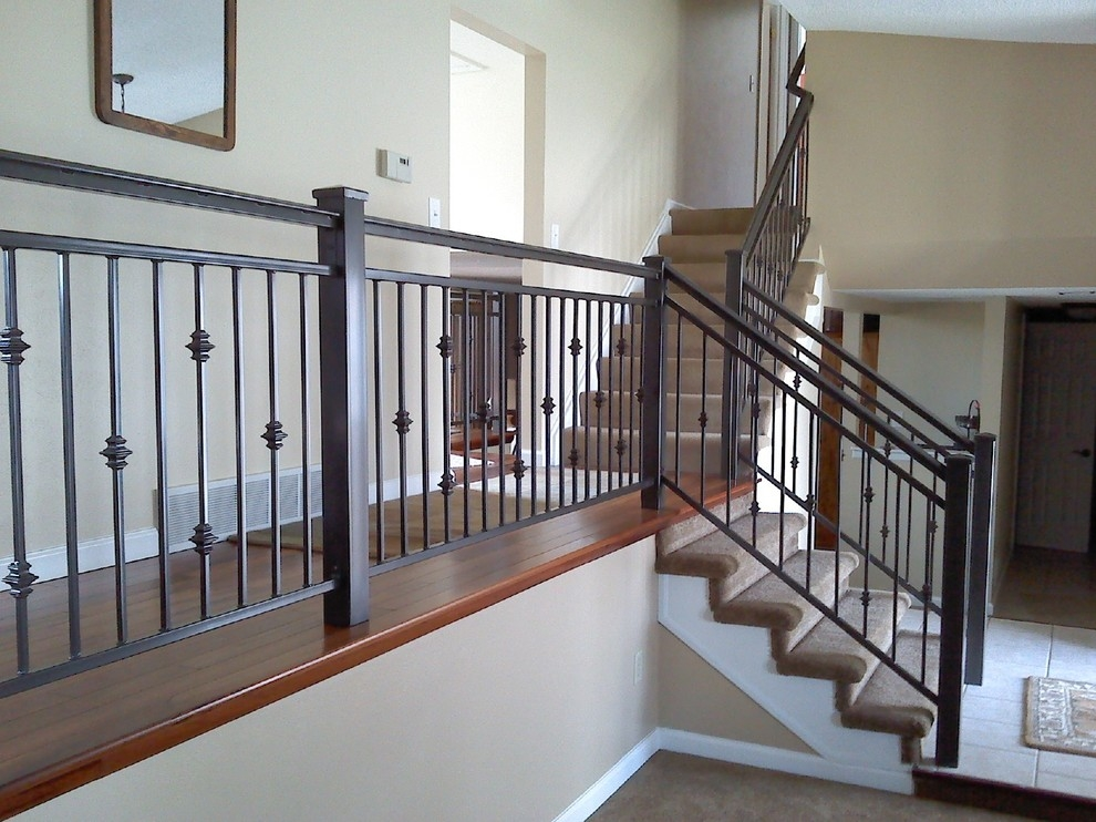 Interior Iron Railing Traditional Staircase Denver By | Iron Handrails For Stairs Interior | Wall Mounted | Balcony | Dark Brown | Room Divider | Custom