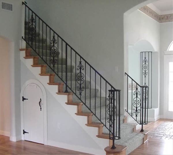Interior Wrought Iron Stair Rail And Column Cover With Lateral | Wrought Iron Stair Railing Near Me | Wood | Railing Ideas | Spindles | Ornamental Iron | Iron Balusters