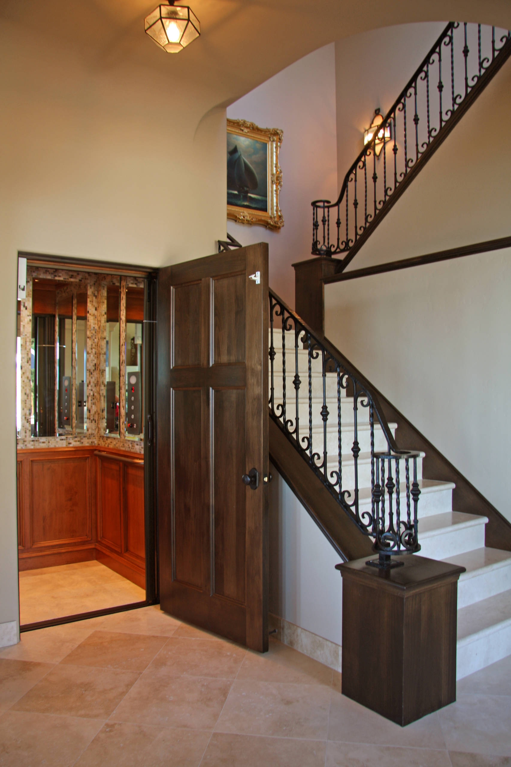 Exterior Front Elevation Staircase Houzz   Home Front Staircase Design   Entrance Front Door Stair   Home Jina   Ghar   Roof Railing Brick   Outer Wall
