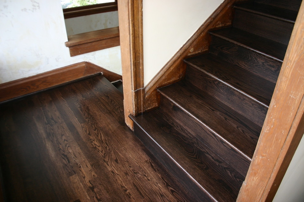 Replacment Old Douglas Fir Steps With Naw Red Oak Treads Risers   Red Oak Stair Treads And Risers   Wooden Stairs   Wood Stair   Hardwood Floors   Railing   Stair Parts