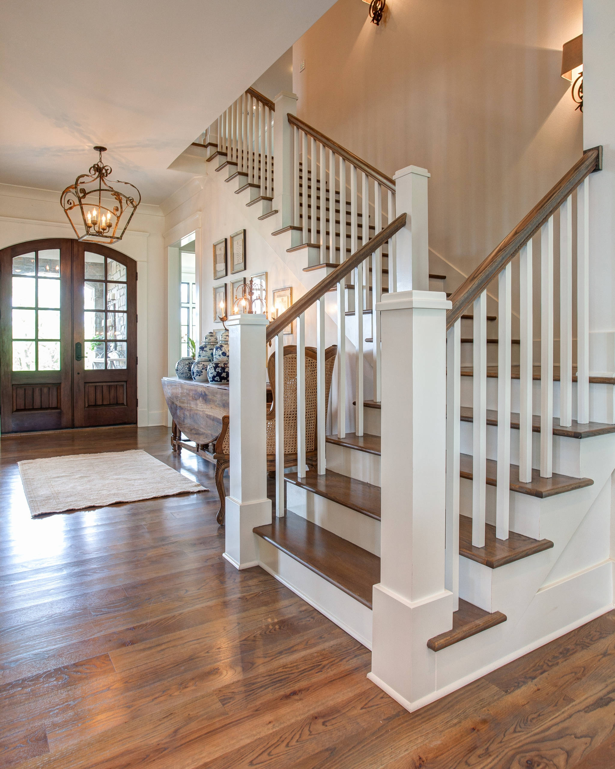 75 Beautiful Wood Stair Railing Pictures Ideas Houzz | Designer Handrails For Stairs | Wood | Wrought Iron Balusters | Railing Ideas | Interior | Stair Parts