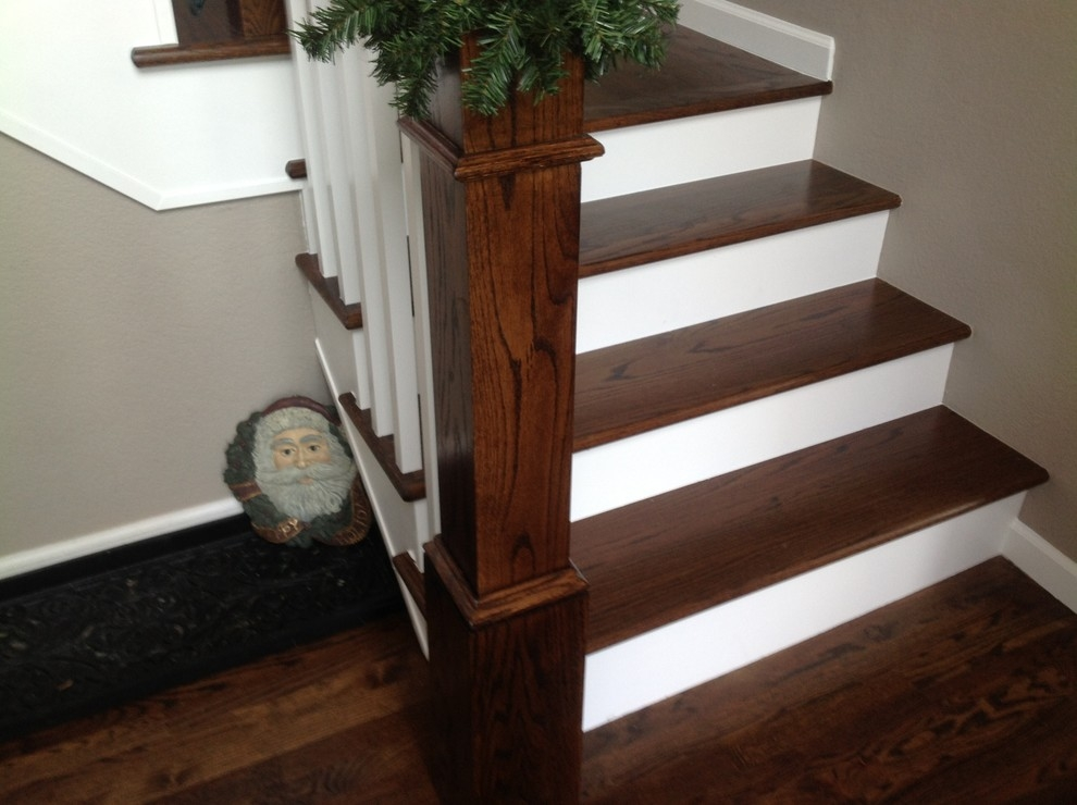 Stained Red Oak Traditional Staircase Denver By Magnus   Red Oak Stair Railing   Inside   2 Tone   Beautiful   Color   Two Toned