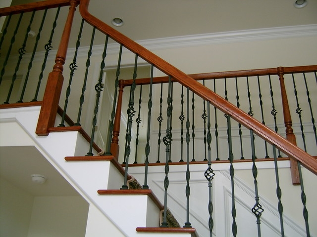 Steel Ornamental Balusters With Wood Handrail American   Wood And Steel Handrail   Wood Framed   Interior   Round   Rustic   Glass
