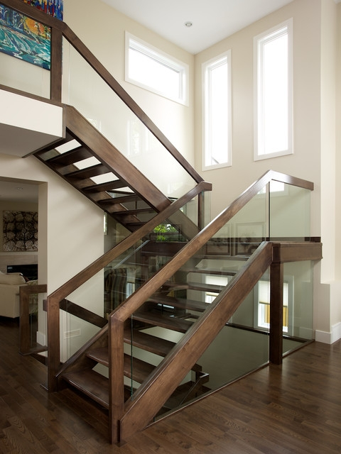Straight Maple Stair With Glass Panel Railing Contemporary   Glass Panel Stair Railing   Toughened   Square   Framed Glass   Staircase   Banister