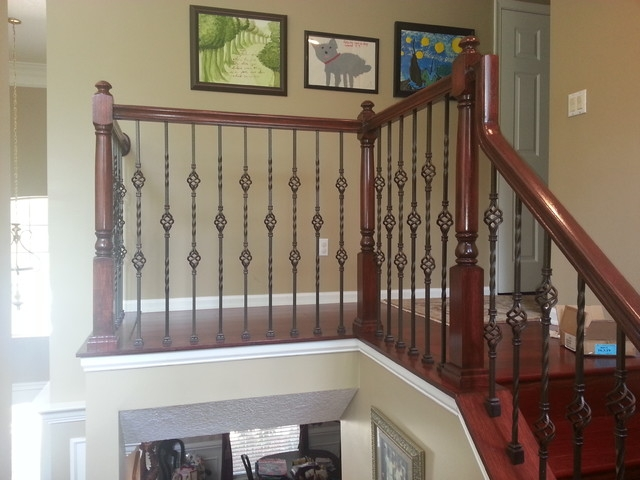 Updated Wood Balusters To Wrought Iron Balusters American | Wood And Metal Banister | Modern | Rustic | Stainless Steel | Design | Aluminum