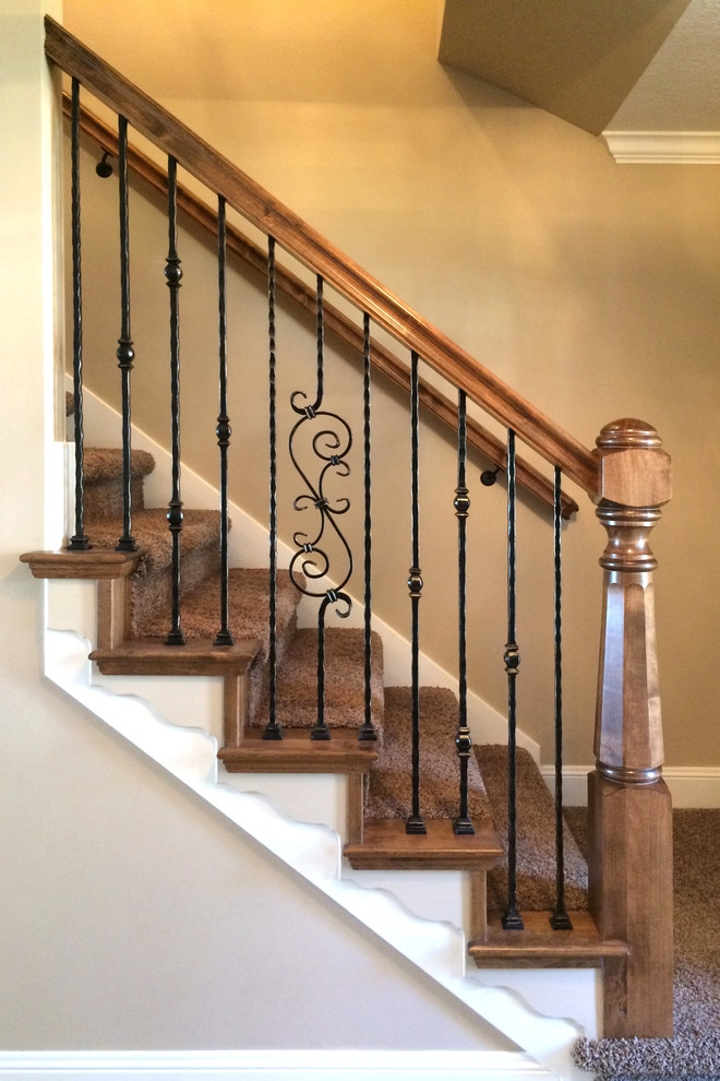 Wood Railing With Wrought Iron Balusters Traditional Staircase | Banister Rail And Spindles | Component | Interior | Lj Smith | Newel Post | Porch