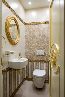 wc et toilettes avec un carrelage beige