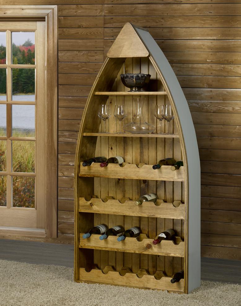 rustic pine canoe shaped wine rack