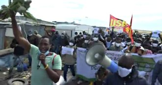 Dl Raise, laborers marching in the countryside of Foggia against the terms of regularization: