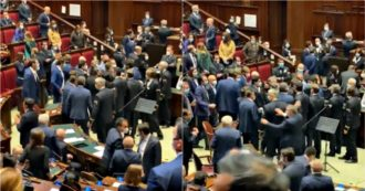 Phase 2, chaos in the House after the M5s attack on Lombardy. Fico suspends the session and Northern League deputies come down from the benches to protest