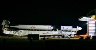 Space X's Crew Dragon on the Cape Canaveral launch pad, countdown to launch with two NASA astronauts