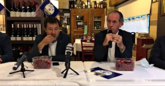 Verona, Salvini eats cherries while Zaia talks about the investigation of newborn babies who died at Borgo Trento hospital